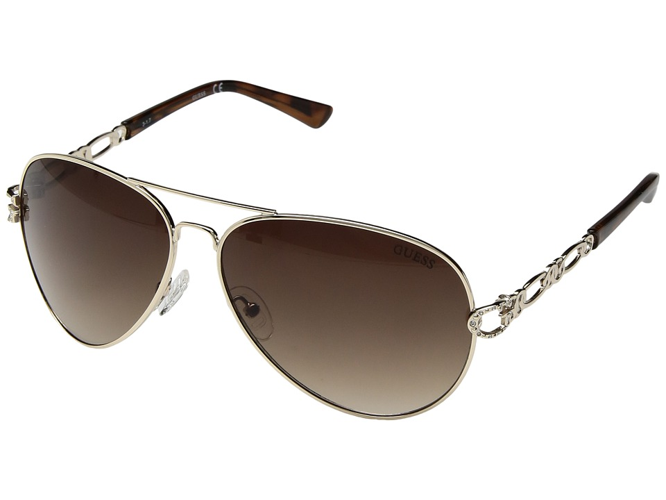 GUESS - GF6044 (Gold/Gradient Brown Lens) Fashion Sunglasses