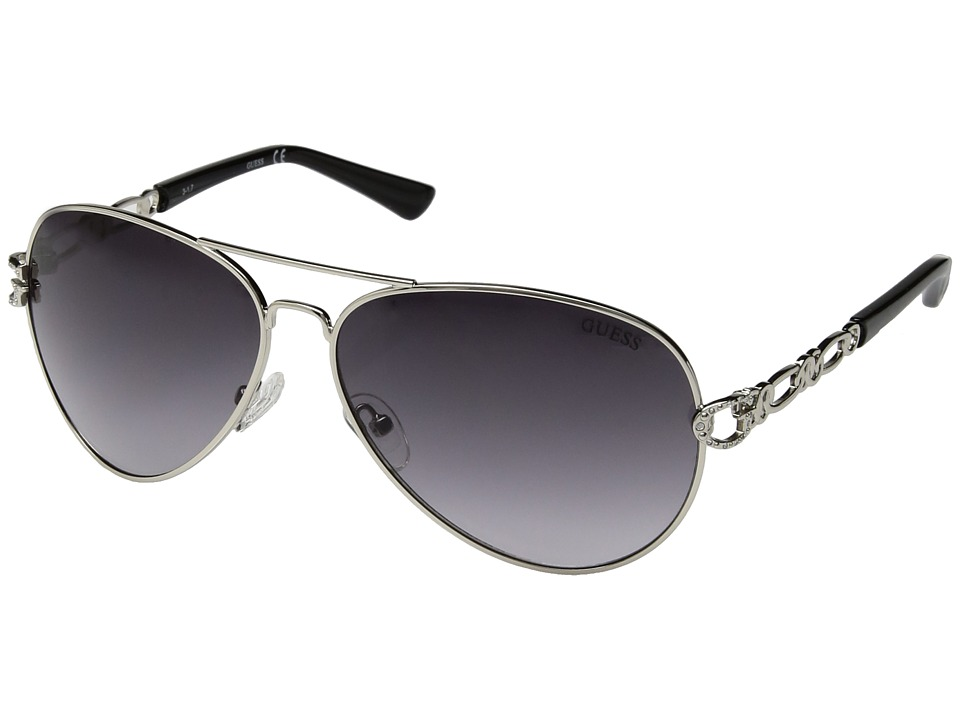GUESS - GF6044 (Silver/Smoke Gradient Lens) Fashion Sunglasses