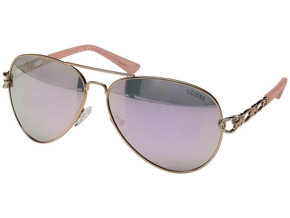 GUESS - GF6044 (Rose Gold/Rose Gold Mirror Lens) Fashion Sunglasses