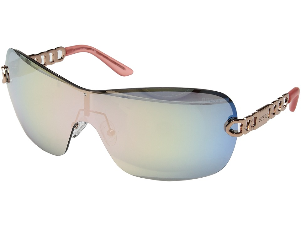 GUESS - GF6043 (Rose Gold/Rose Gold Mirror Lens) Fashion Sunglasses