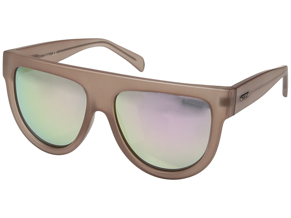 GUESS - GF6042 (Matte Crystal Light Brown/Rose Gold Mirror Lens) Fashion Sunglasses
