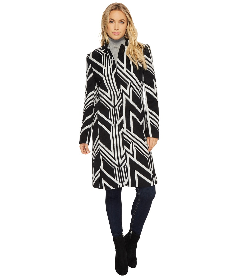 Kenneth Cole New York - Art Deco Wool Print (Black/White) Women's Coat