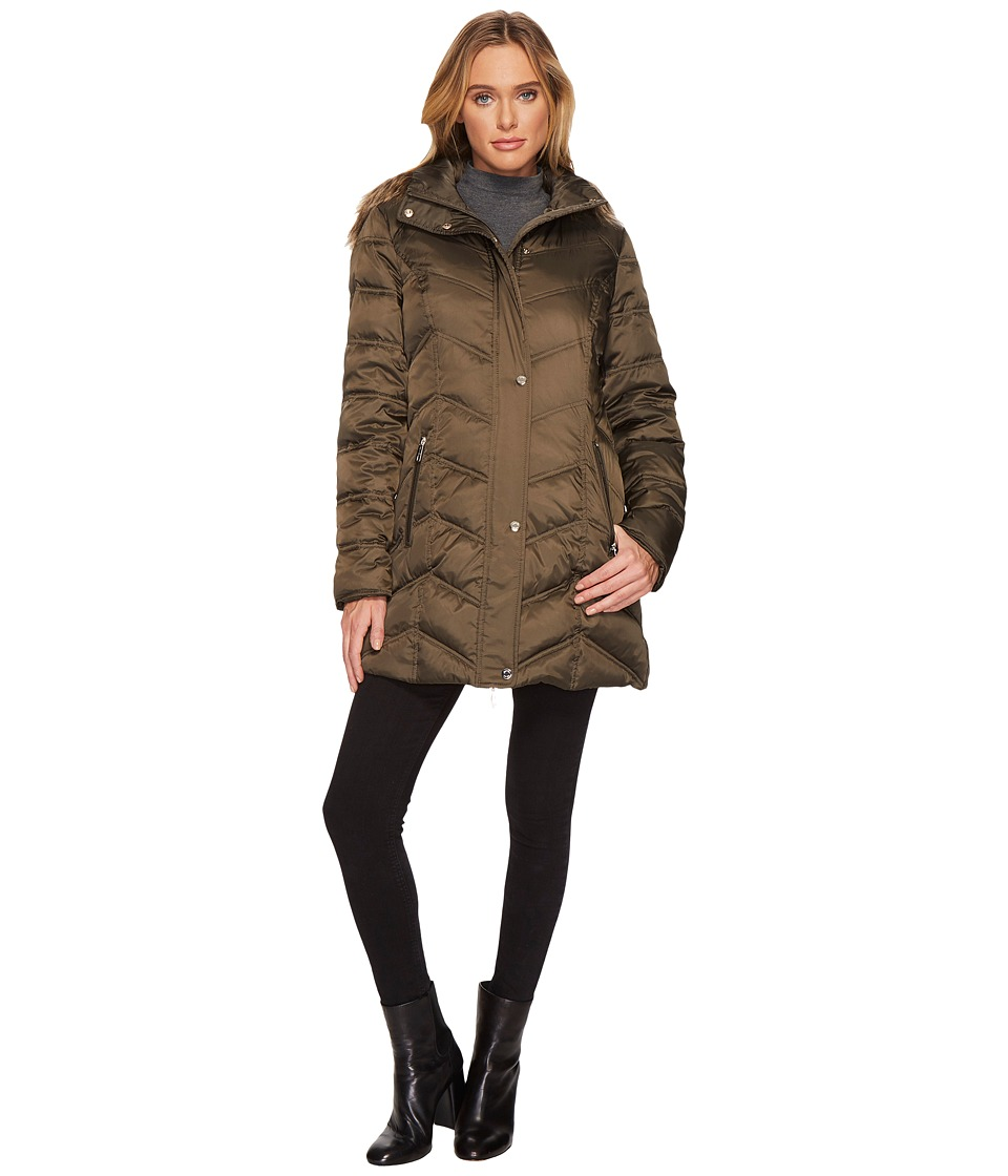 Kenneth Cole New York - Chevron Quilted Coat with Fur Hood (Steel) Women's Coat