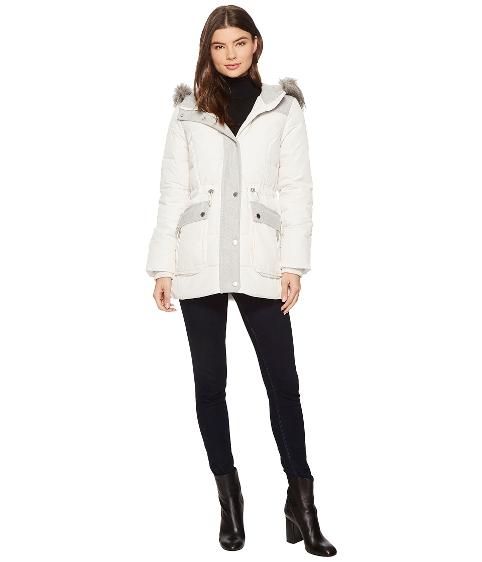 Kenneth Cole New York - Mix Media Anorak w/ Wool Trim and Faux Fur Hood (Snow) Women's Coat