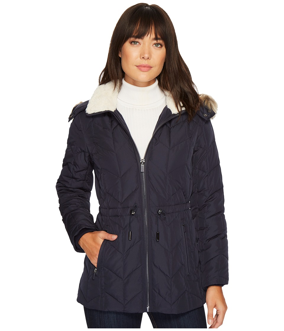 Kenneth Cole New York - Quilted Chevorn Coat with Fur Hood (Navy) Women's Coat