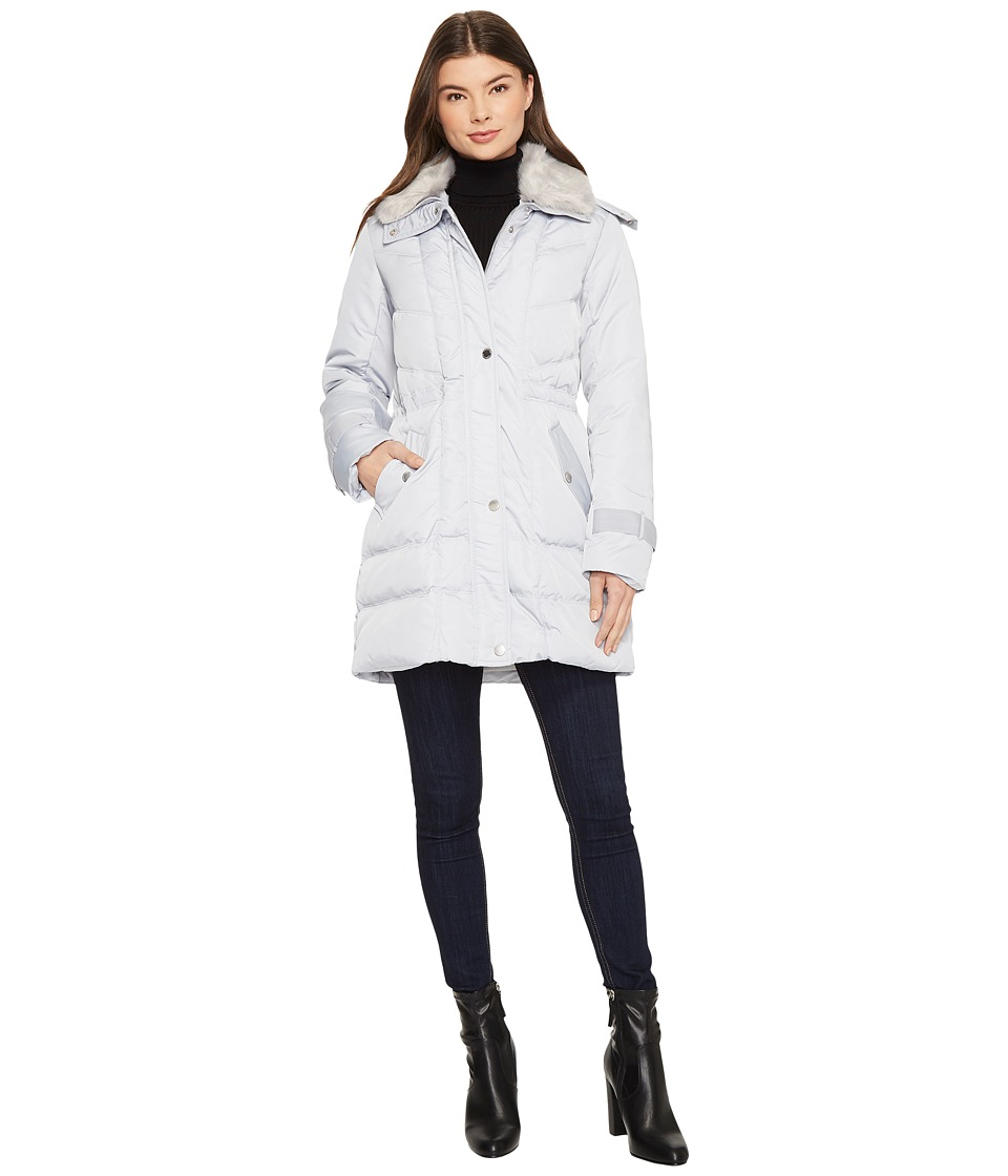Kenneth Cole New York - Oxford Hooded Anorak w/ Removable Faux Fur Collar (Oyster) Women's Coat