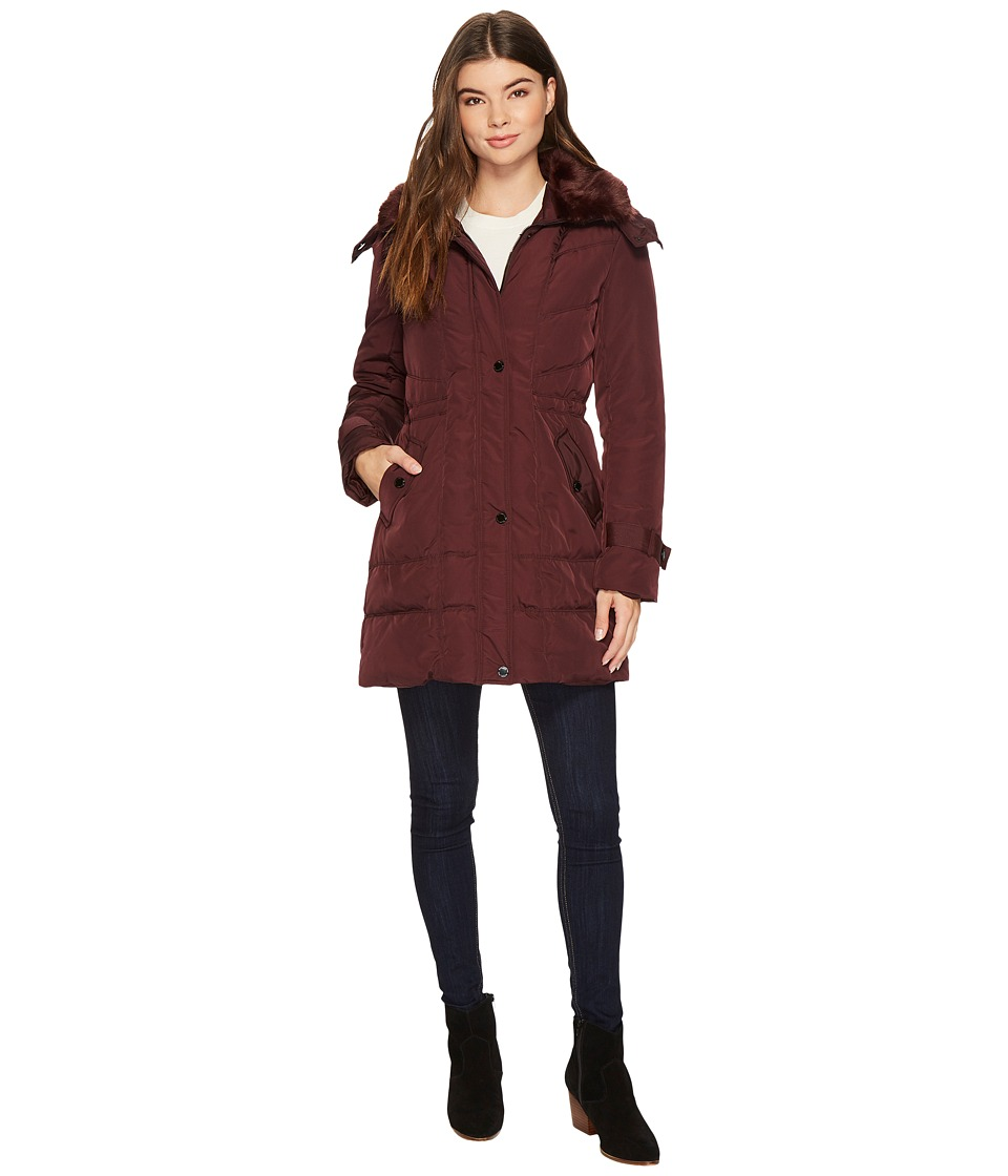 Kenneth Cole New York - Oxford Hooded Anorak w/ Removable Faux Fur Collar (Sangria) Women's Coat