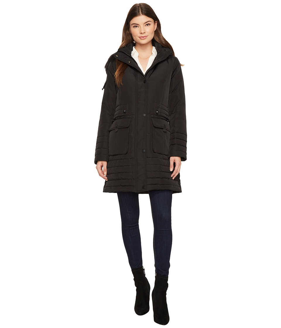 Kenneth Cole New York - Parka w/ Faux Fur Trim (Black) Women's Coat