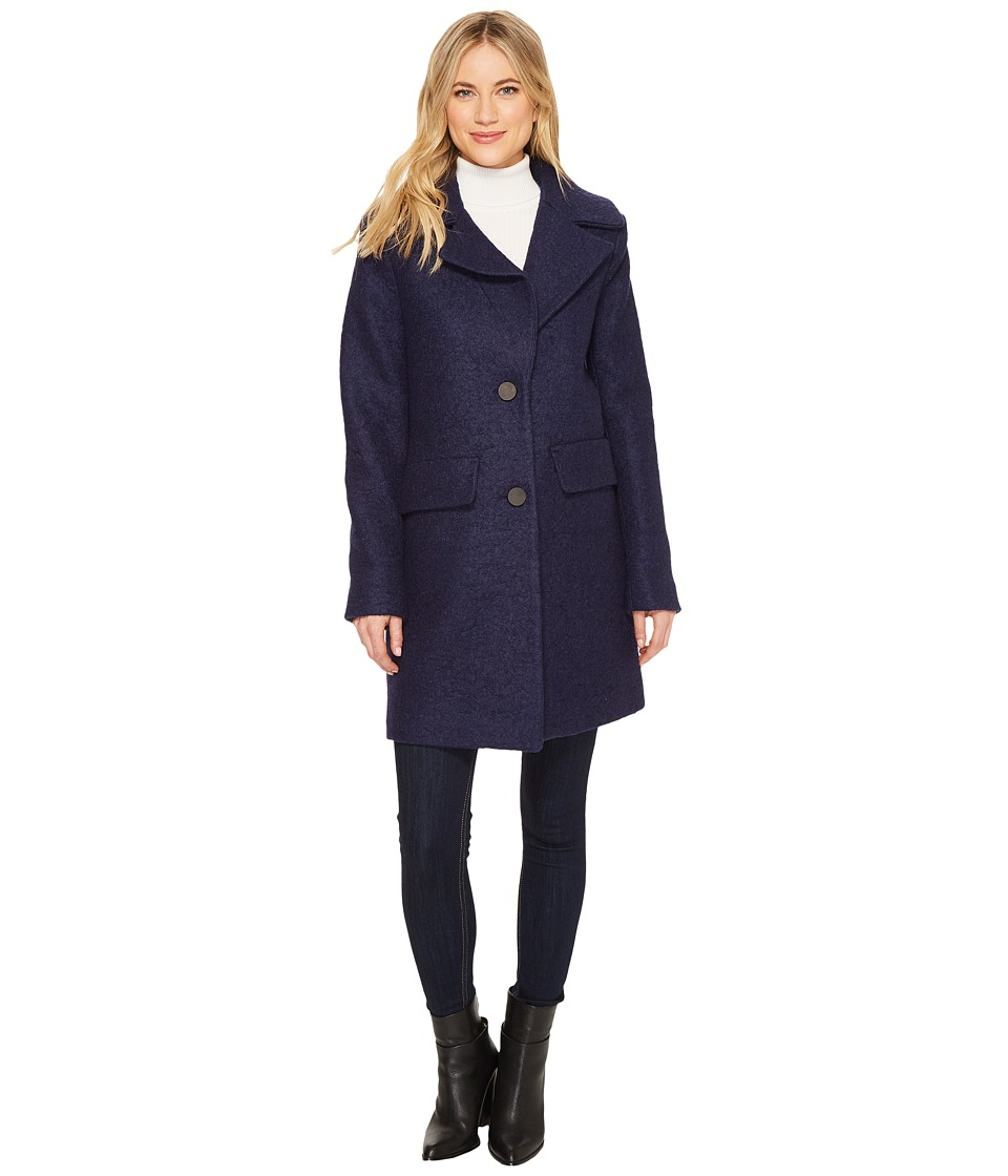 Kenneth Cole New York - Pressed Boucle Notch Collar (Grape) Women's Coat