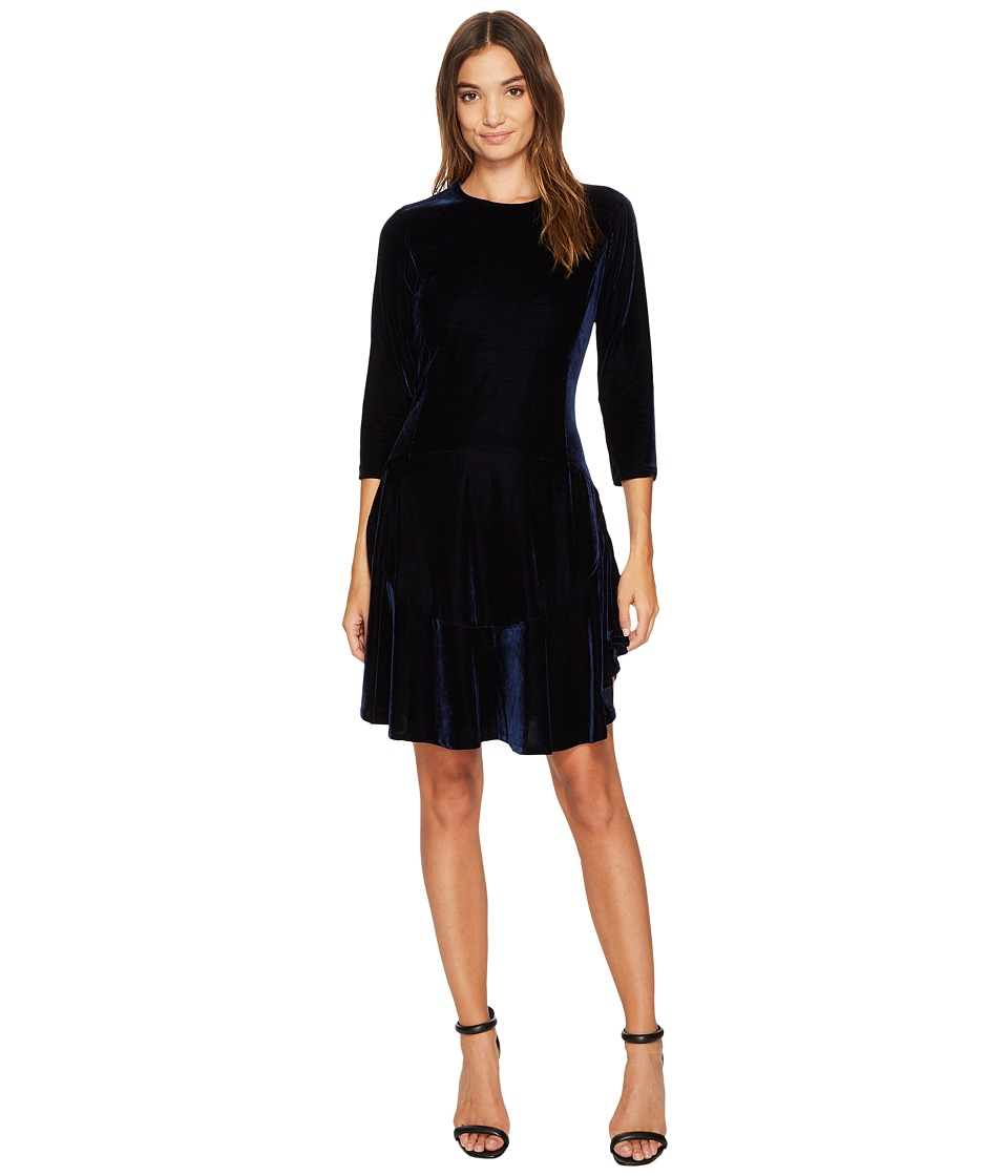 Donna Morgan - Isabel 3/4 Sleeve A-Line Dress with Circle Flounce (Uniform Navy) Women's Dress