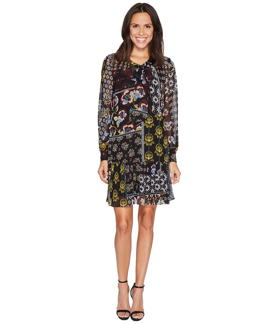 Donna Morgan - Mock Two-Piece Dress with Pleated Skirt (Black/Ochre Multi) Women's Dress