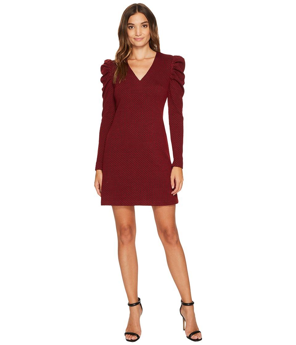 Donna Morgan V-Neck Sheath Dress with Puff Sleeve (Wine Burgundy) Women