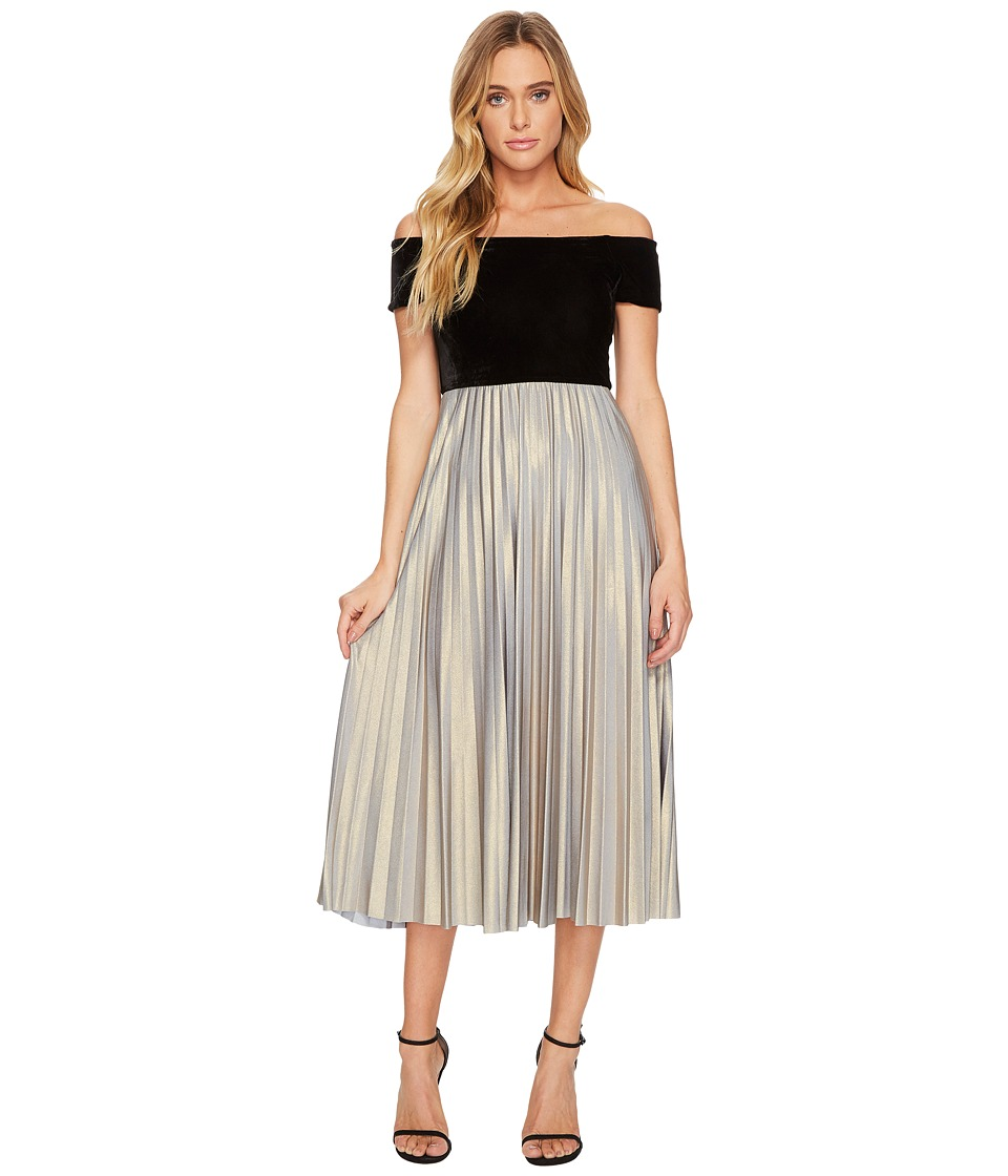 Donna Morgan Off Shoulder Midi Dress with Velvet Top and Pleated Jersey  Skirt (Black/