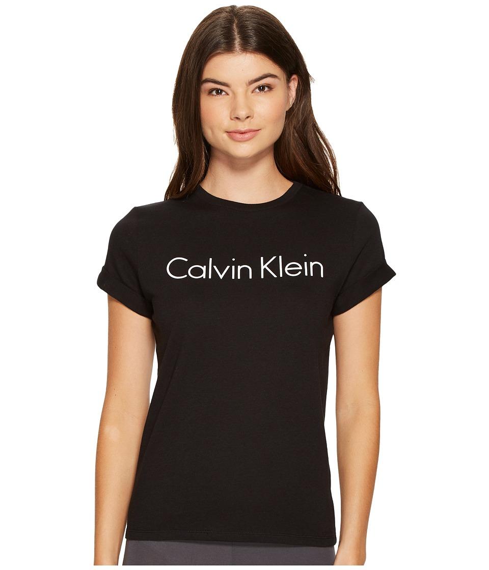 Calvin Klein Underwear - Short Sleeve Crew Neck (Black) Women's Pajama