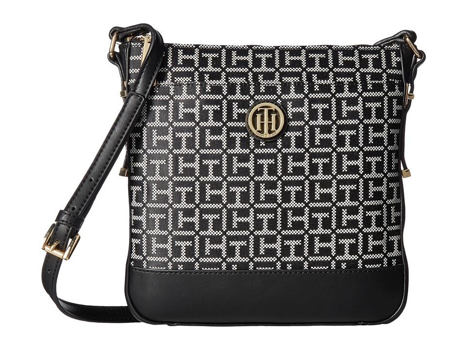 Tommy Hilfiger - Gillian North/South Crossbody (Black/White) Cross Body Handbags
