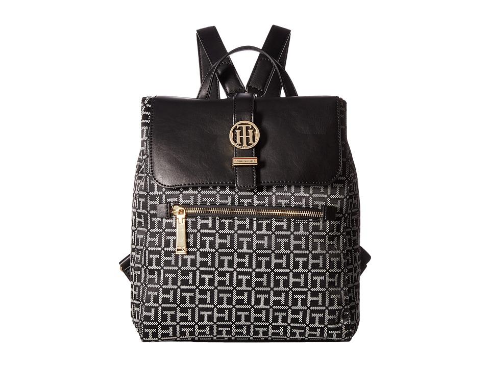 Tommy Hilfiger Evanna Backpack (Black/White) Backpack Bags