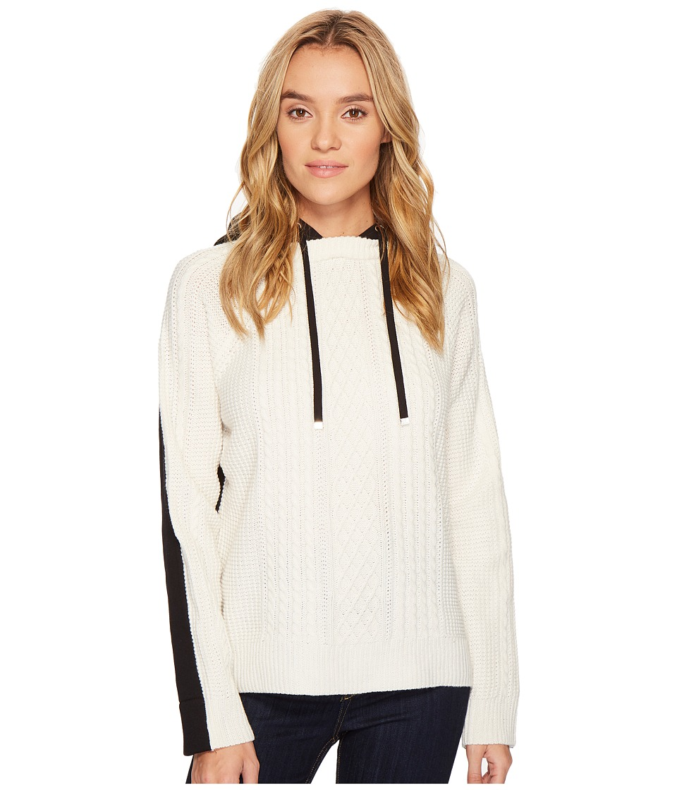 ROMEO & JULIET COUTURE - Two-Toned Knitted Hooded Sweater (Ivory/Black) Women's Clothing