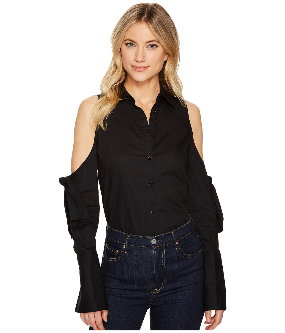 ROMEO & JULIET COUTURE - Cold Shoulder Ribbon Detail Shirt (Black) Women's Clothing