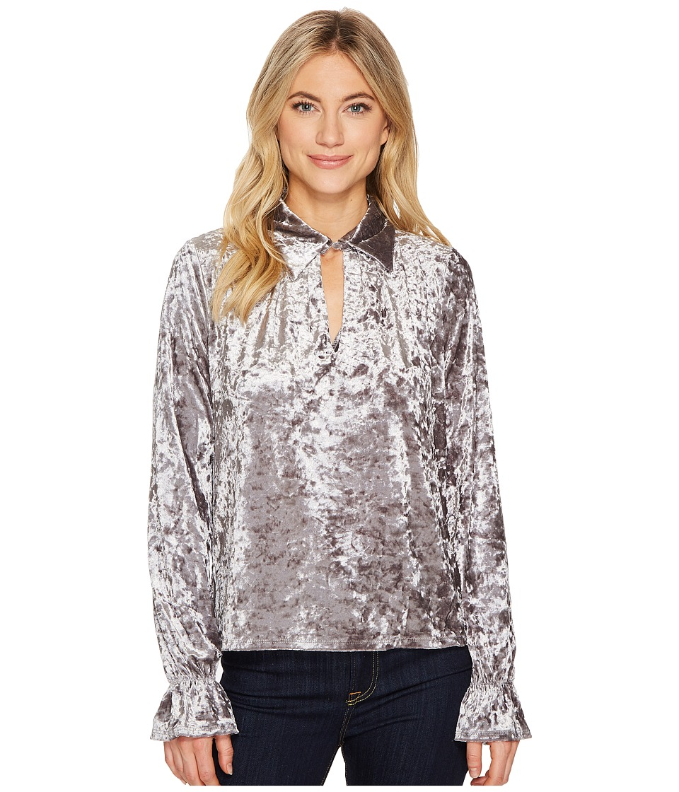 ROMEO & JULIET COUTURE - Knit Crushed Velvet Keyhole Blouse (Grey) Women's Clothing
