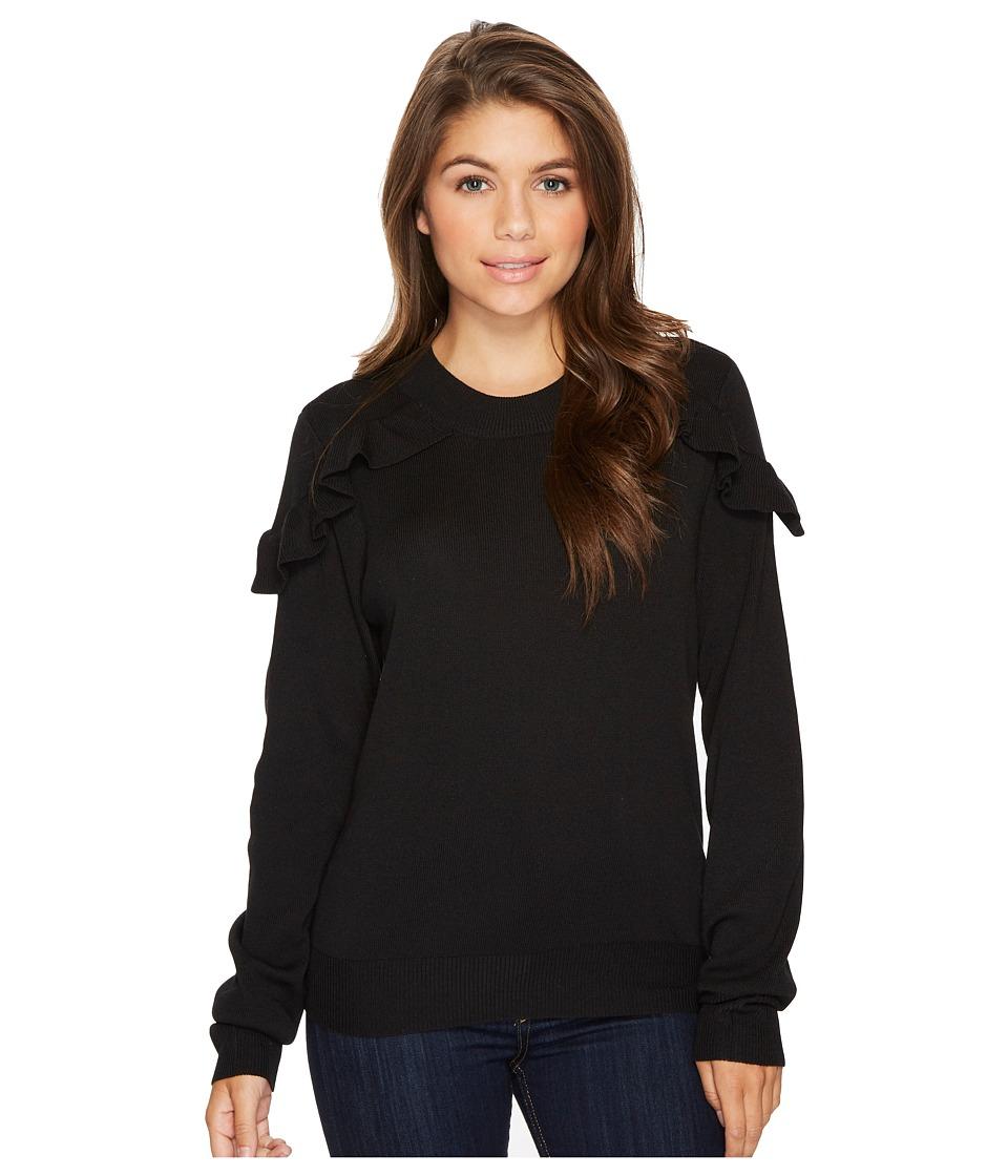 ROMEO & JULIET COUTURE - Ruffle Shoulder Sweater (Black) Women's Clothing