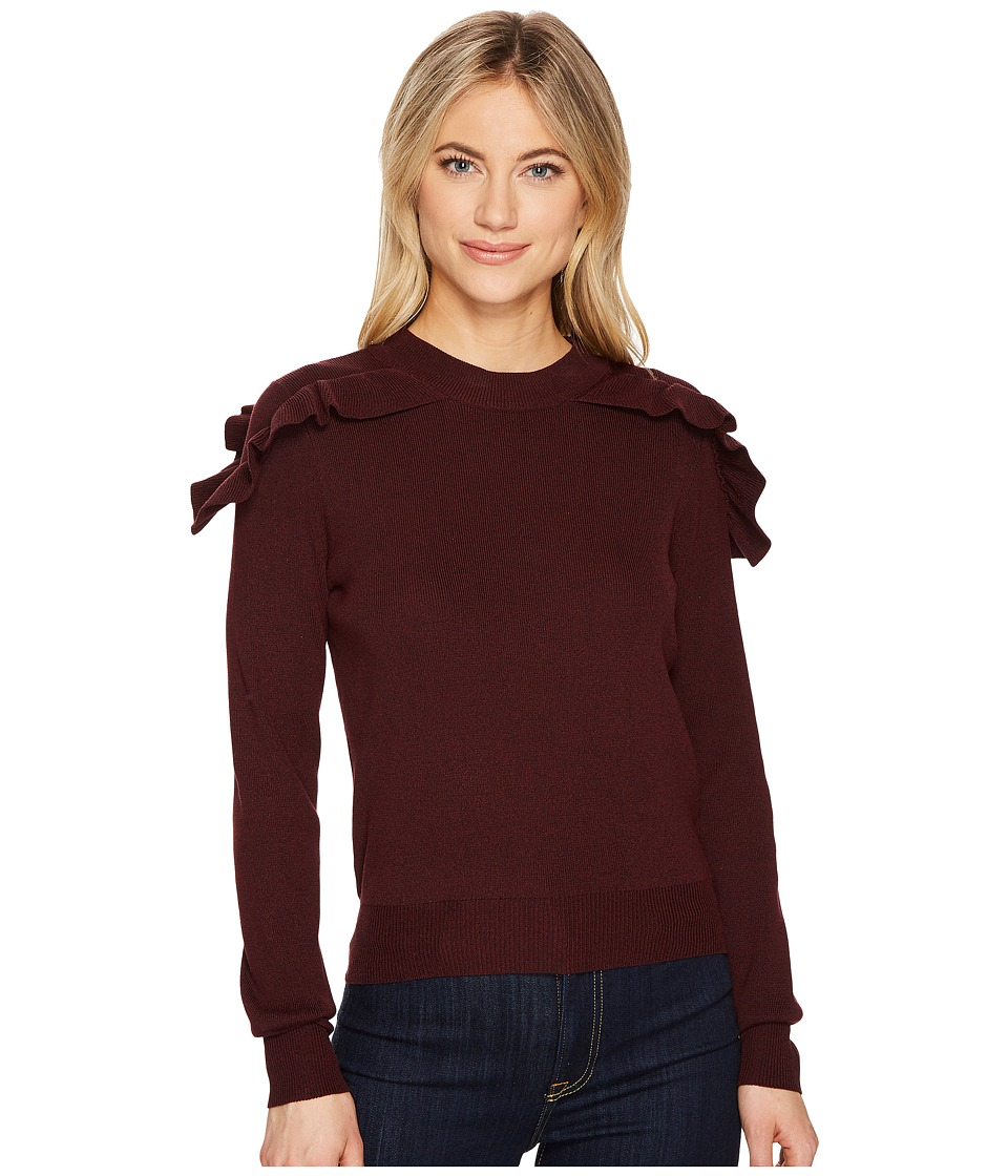 ROMEO & JULIET COUTURE - Ruffle Shoulder Sweater (Burgundy) Women's Clothing