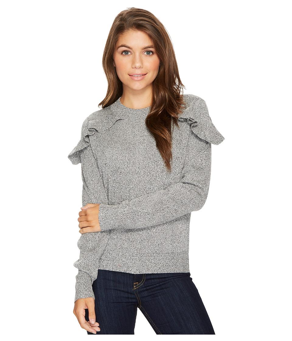 ROMEO & JULIET COUTURE - Ruffle Shoulder Sweater (Grey) Women's Clothing