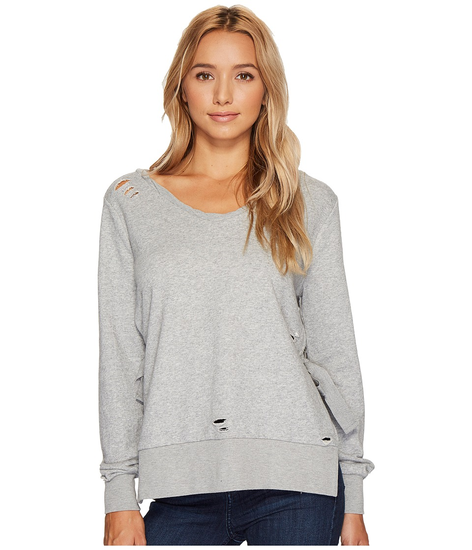 ROMEO & JULIET COUTURE French Terry V-Neck Knit Sweatshirt (Light Heather Grey) Women