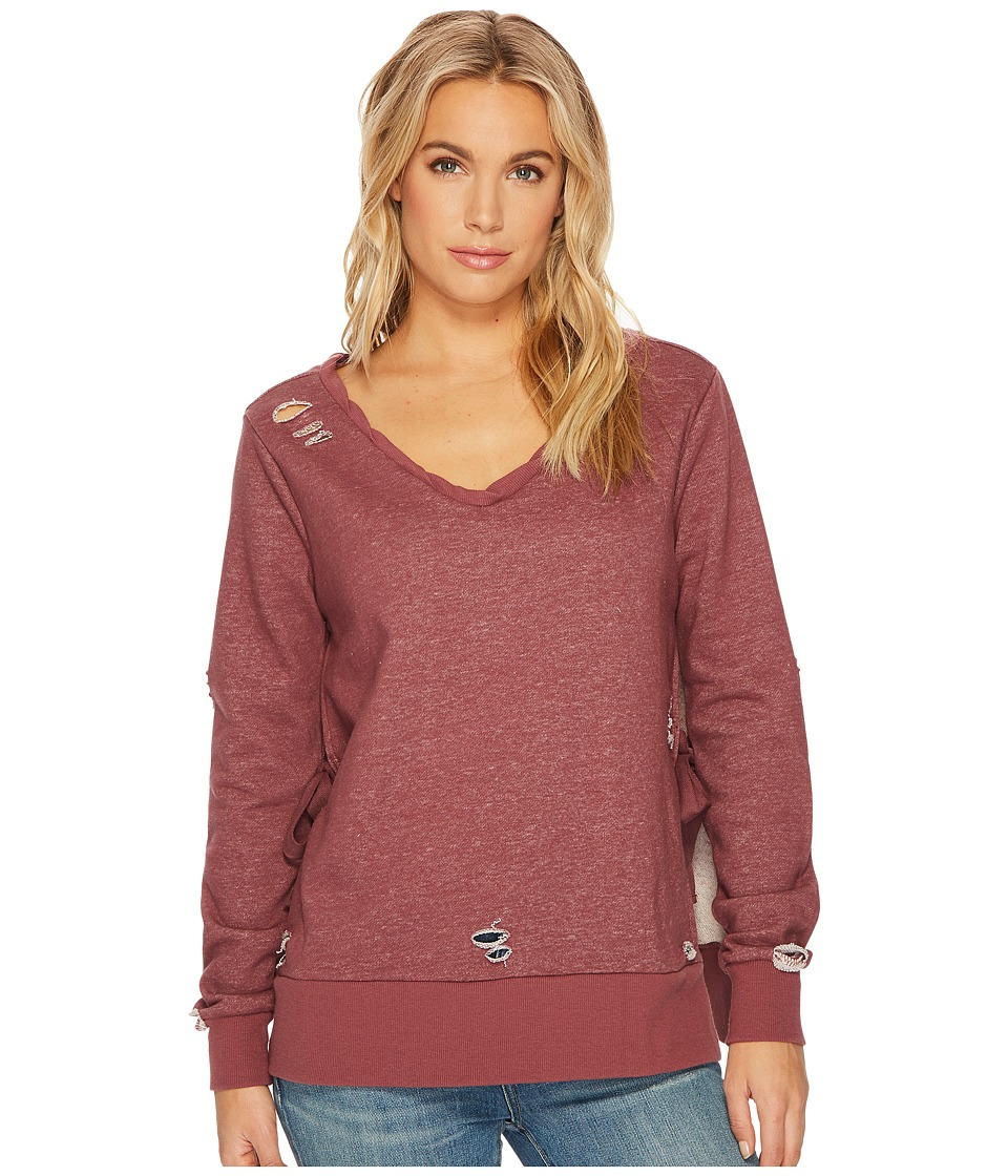 ROMEO & JULIET COUTURE - French Terry V-Neck Knit Sweatshirt (Mauve) Women's Clothing