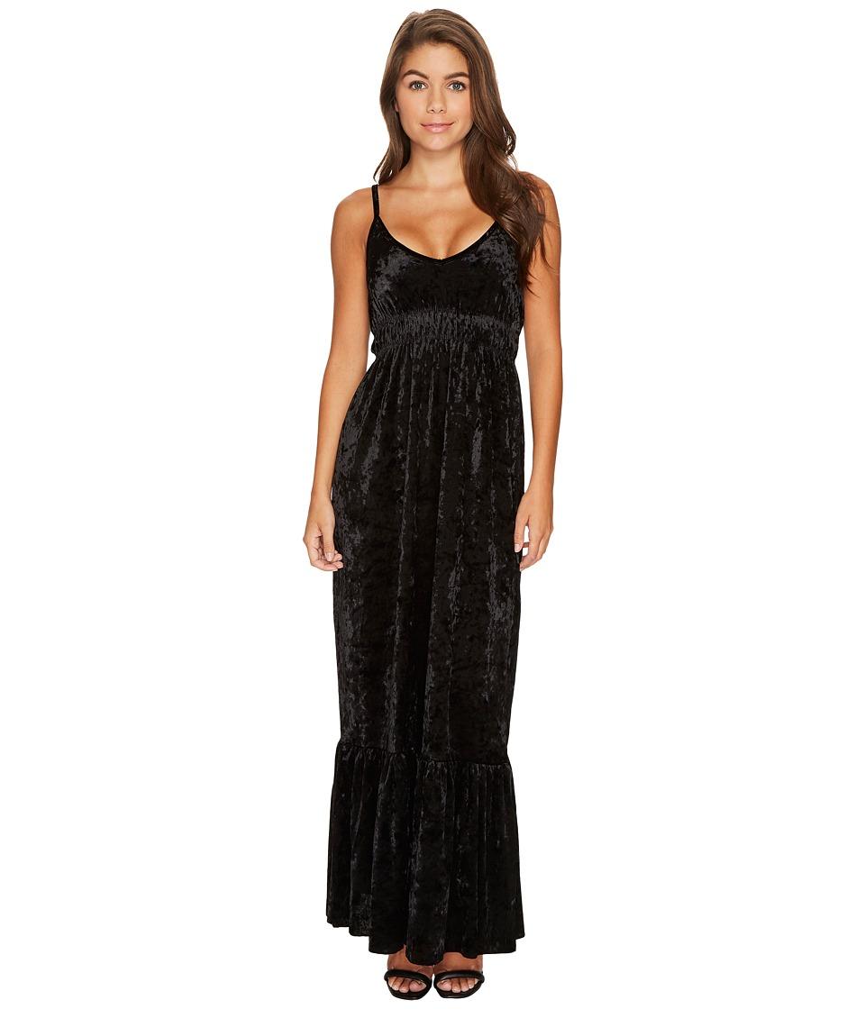 ROMEO & JULIET COUTURE - Crushed Velvet Maxi Dress (Black) Women's Clothing