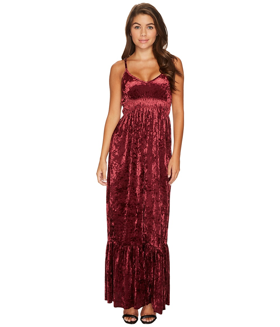 ROMEO & JULIET COUTURE - Crushed Velvet Maxi Dress (Burgundy) Women's Clothing