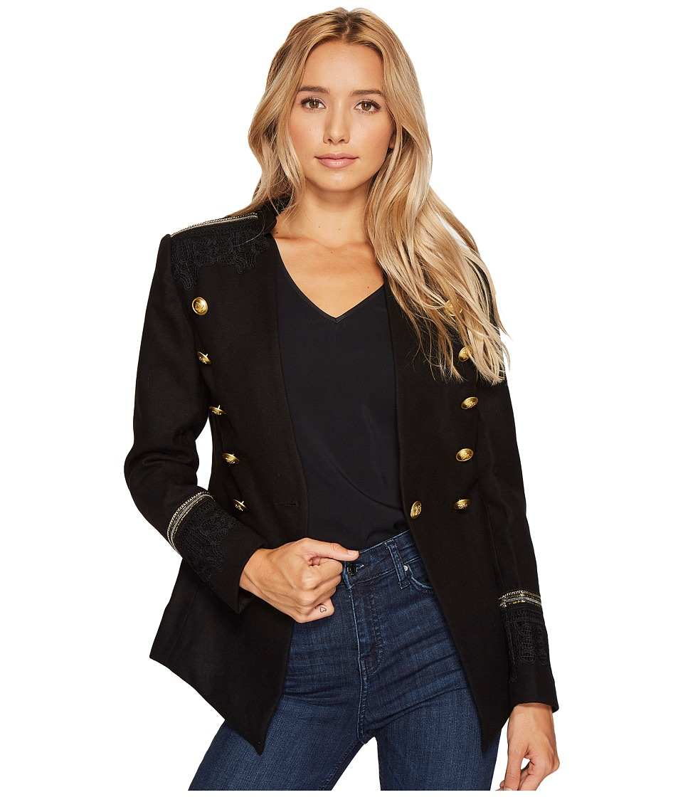 ROMEO & JULIET COUTURE - Military Jacket with Shoulder Patch (Black) Women's Clothing