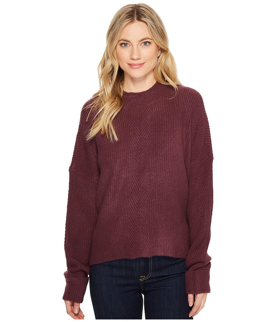 ROMEO & JULIET COUTURE - Mock Neck Drop Shoulder Sweater (Plum) Women's Clothing