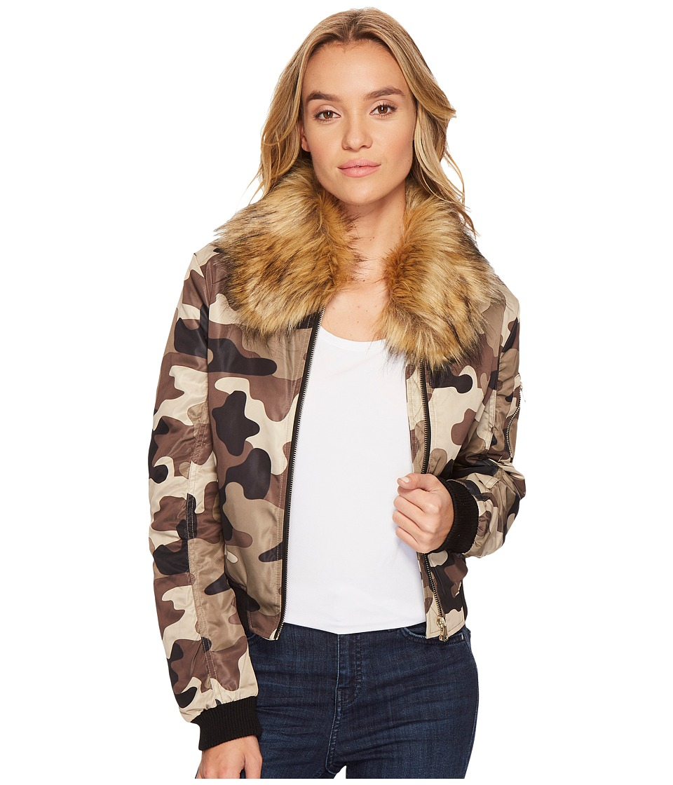 ROMEO & JULIET COUTURE - Camo Bomber Jacket with Faux Fur Collar (Camo) Women's Clothing
