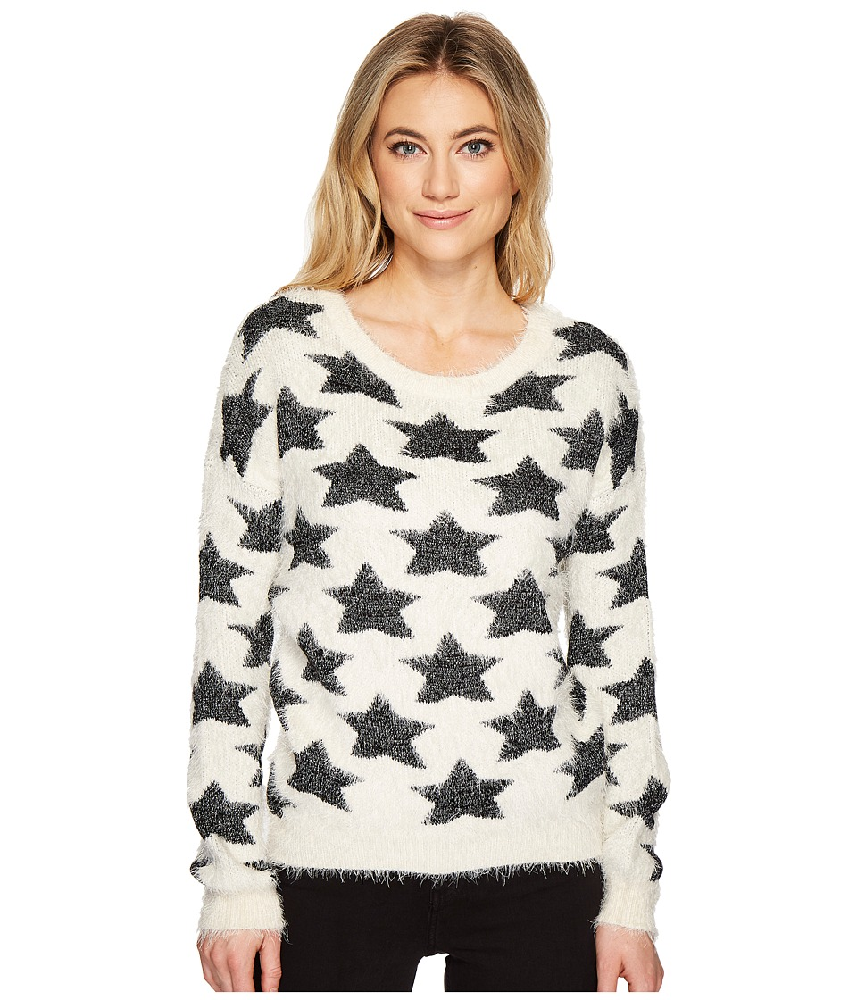 ROMEO & JULIET COUTURE - Star Motif Eyelash Sweater Top (Cream/Black) Women's Clothing