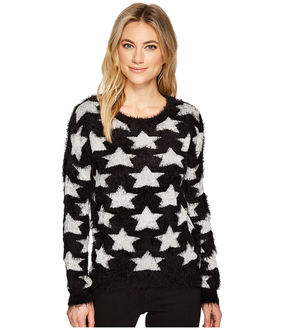 ROMEO & JULIET COUTURE - Star Motif Eyelash Sweater Top (Black/Cream) Women's Clothing
