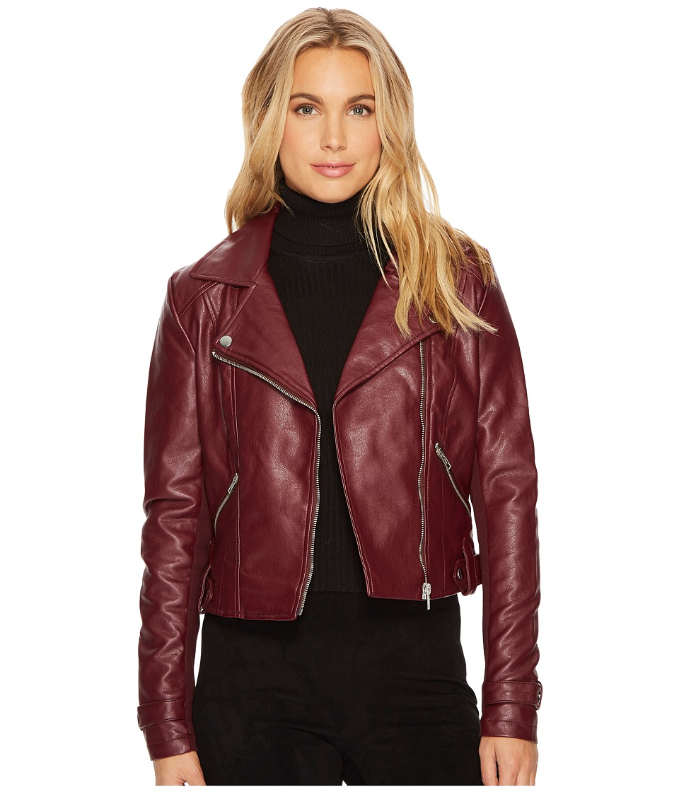 ROMEO & JULIET COUTURE - Amour PU Biker Jacket (Burgundy) Women's Clothing