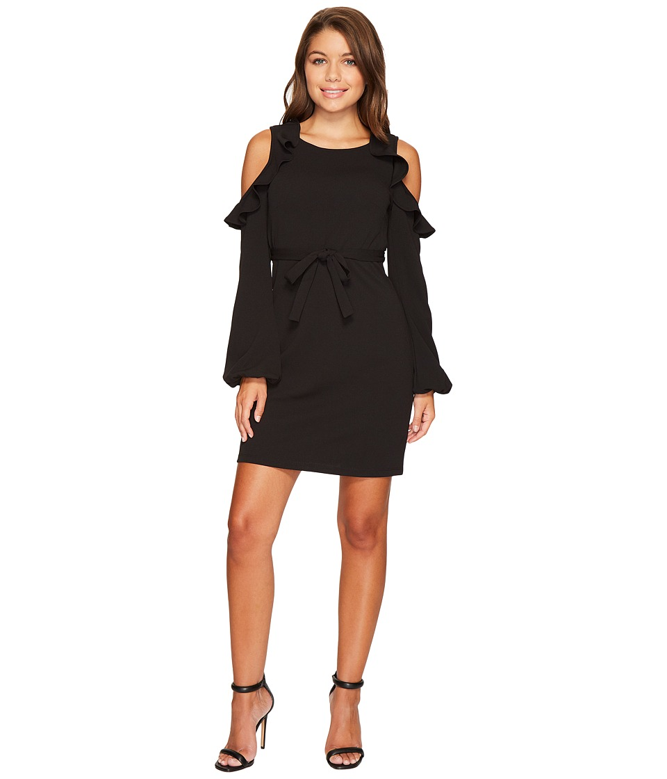 ROMEO & JULIET COUTURE - Cold Shoulder Ruffle Belted Dress (Black) Women's Clothing