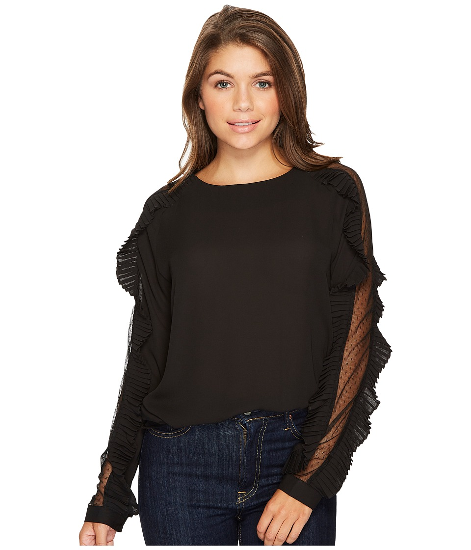 ROMEO & JULIET COUTURE - Mesh Sleeve Blouse with Pleated Ruffles (Black) Women's Clothing