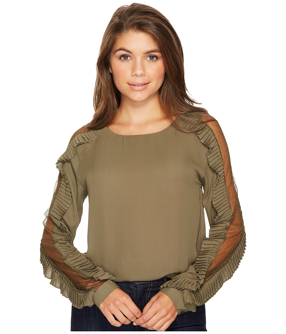 ROMEO & JULIET COUTURE - Mesh Sleeve Blouse with Pleated Ruffles (Olive) Women's Clothing