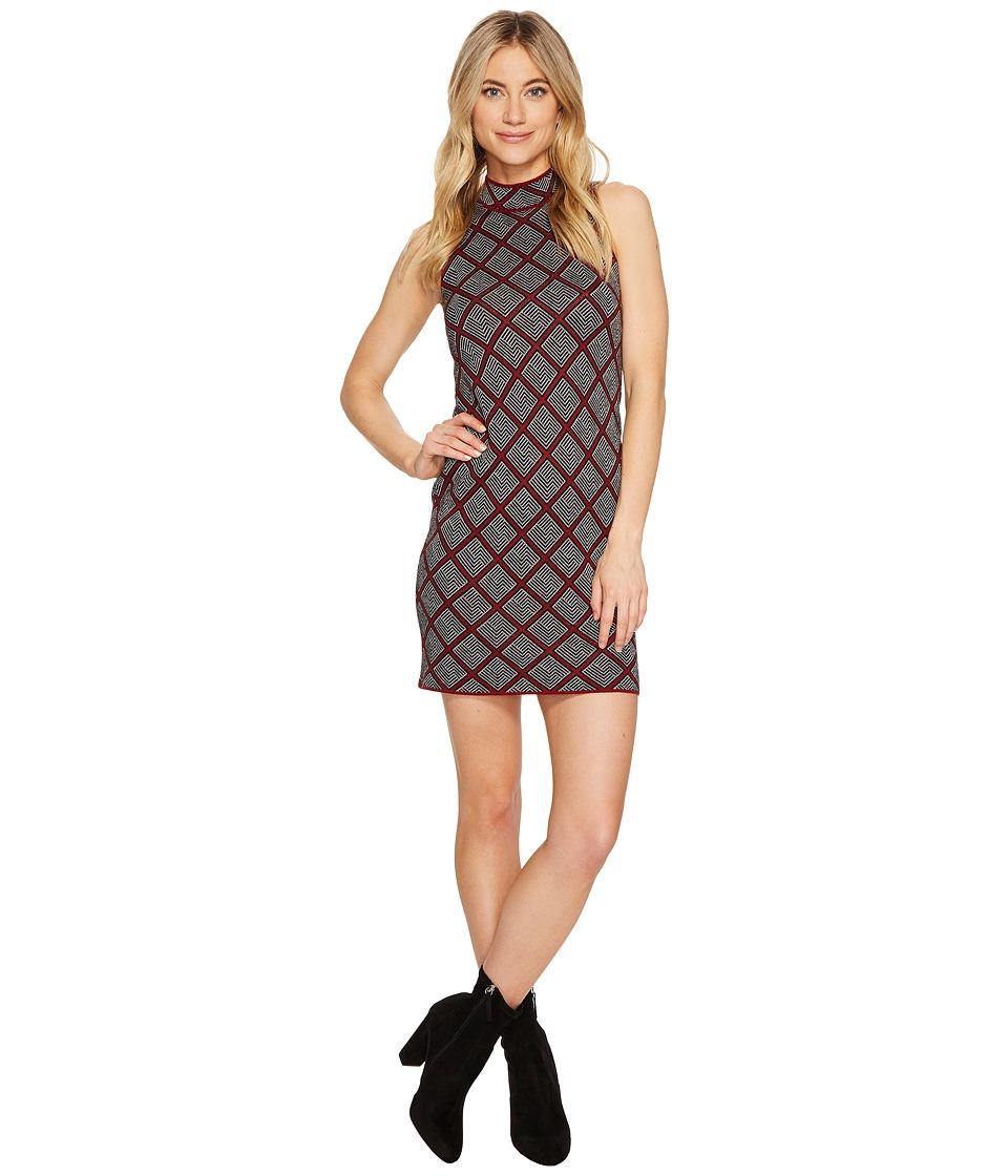 ROMEO & JULIET COUTURE - Sleeveless Mock Neck Geo Knit Dress (Burgundy) Women's Clothing