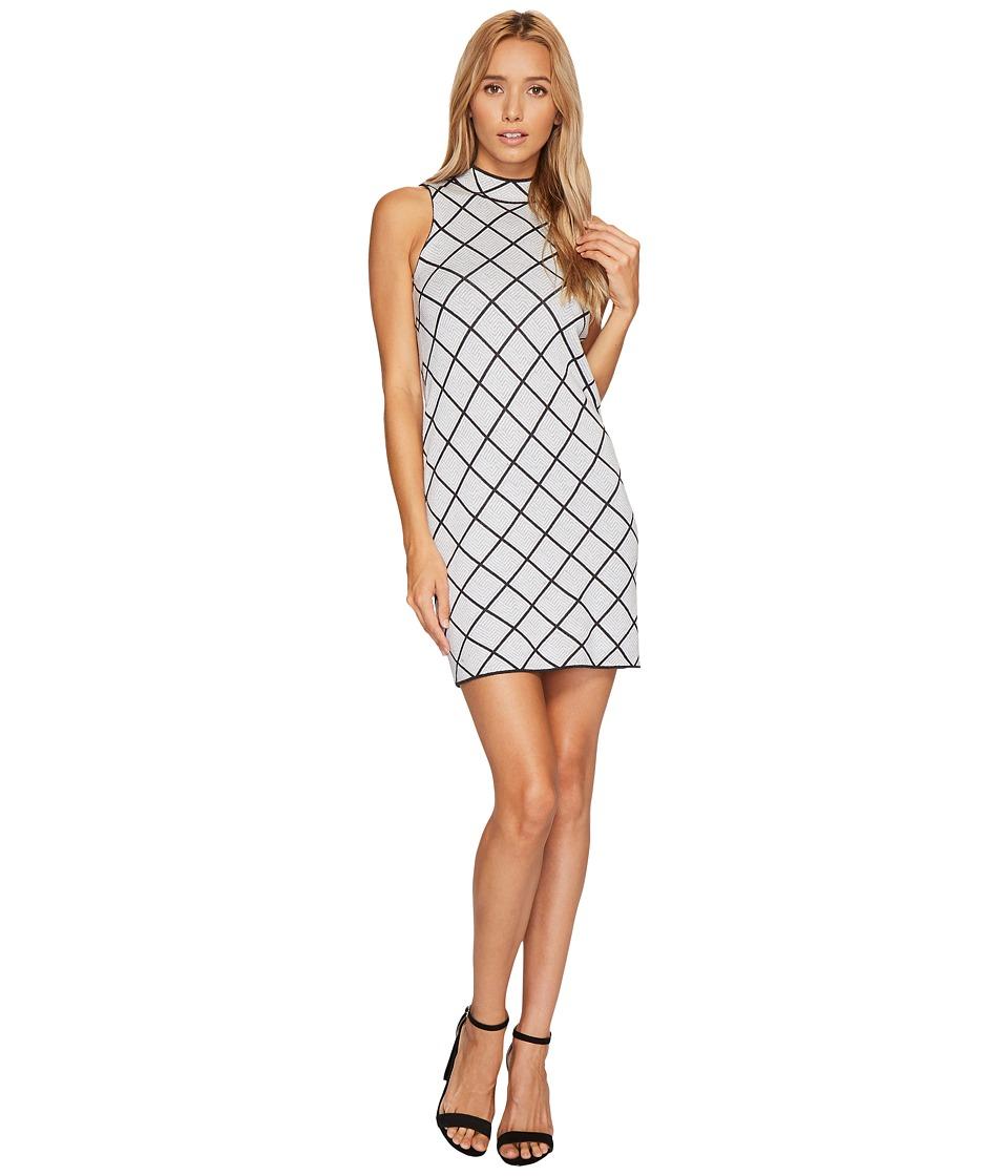 ROMEO & JULIET COUTURE - Sleeveless Mock Neck Geo Knit Dress (Grey) Women's Clothing