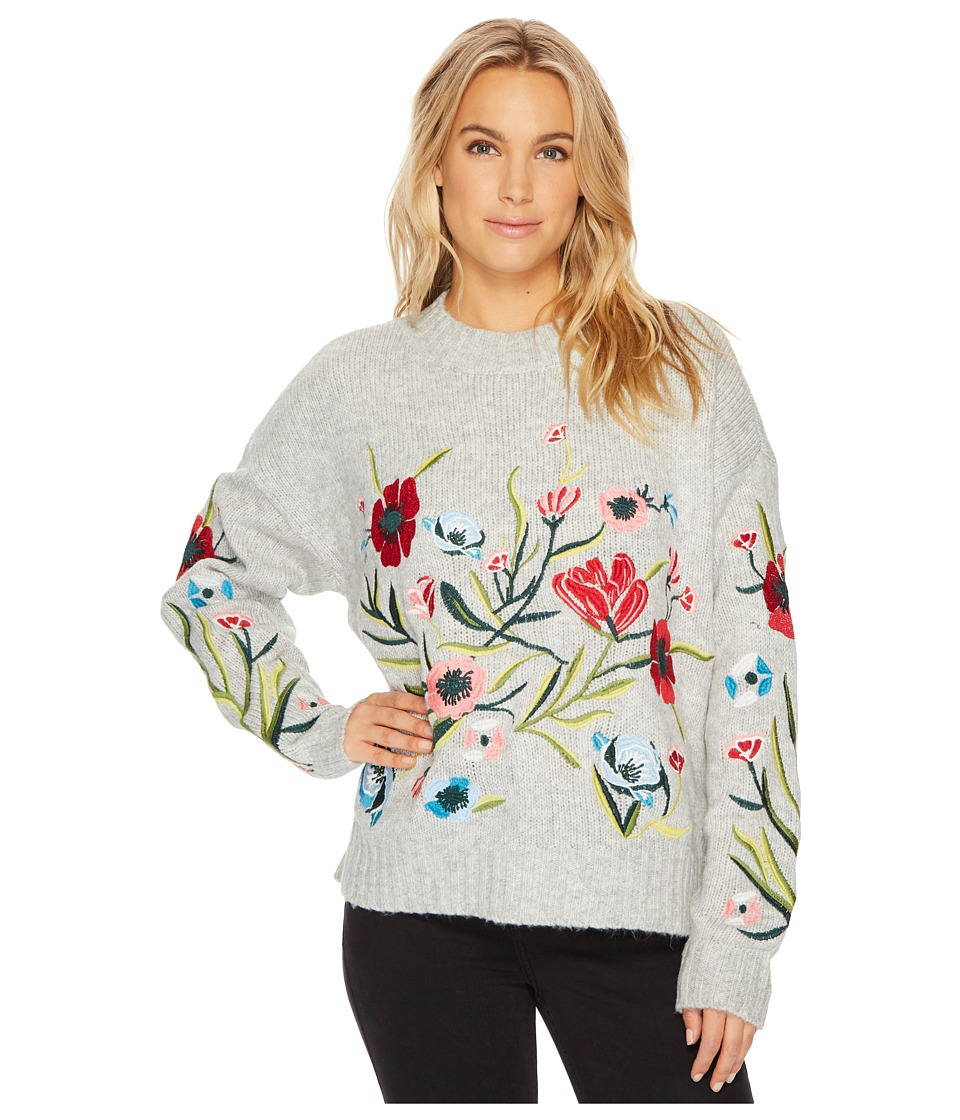 ROMEO & JULIET COUTURE - Embroidered Knit Sweater (Heather Grey) Women's Clothing