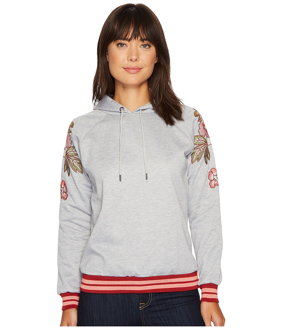 ROMEO & JULIET COUTURE - Hooded Sweater with Embroidered Patch on Shoulders (Heather Grey) Women's Clothing