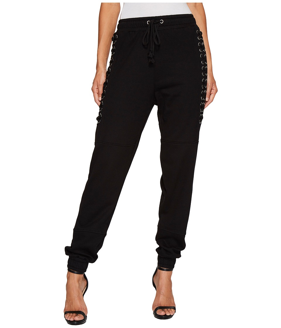 ROMEO & JULIET COUTURE - Knit Jogger Pants with Lace-Up Cord Detail (Black) Women's Casual Pants