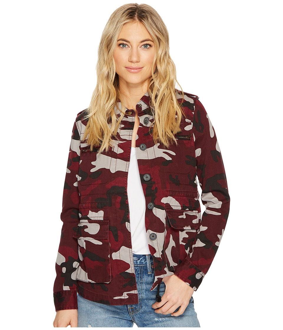 ROMEO & JULIET COUTURE - Pocket Camo Jacket (Burgundy) Women's Clothing