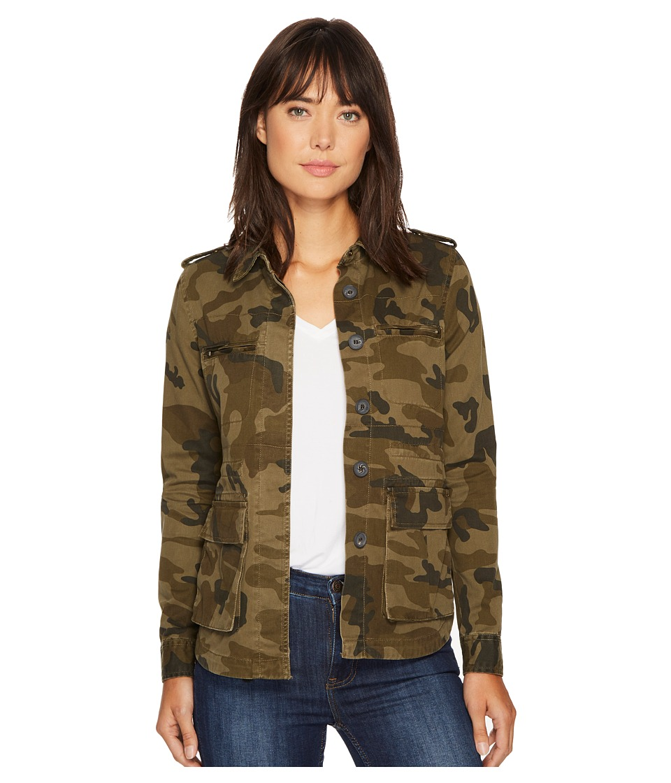 ROMEO & JULIET COUTURE - Pocket Camo Jacket (Olive) Women's Clothing