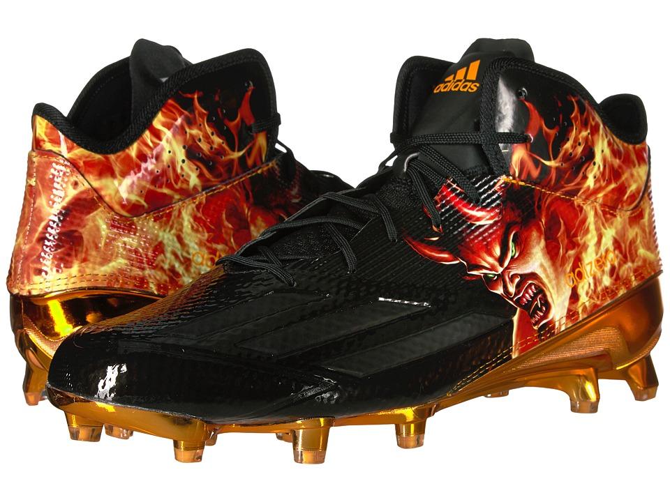 adidas - Adizero 5-Star 5.0 Mid Uncaged (Black/Black/Equipment Orange) Men's Shoes