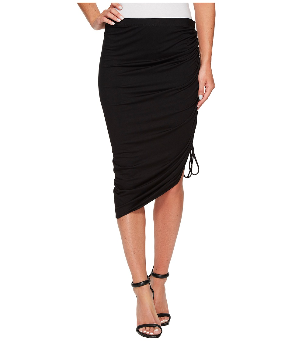Three Dots Classic Jersey Skirt w/ Side Ruffle (Black) Women's Skirt