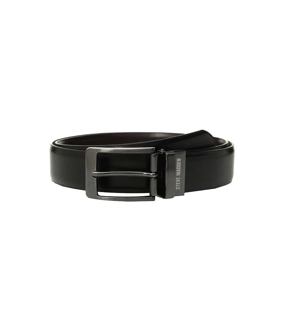 Steve Madden - 35mm Burnished Reversible Dress Belt (Black/Brown) Men's Belts