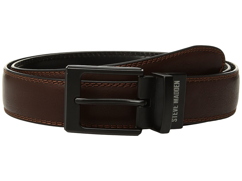Steve Madden - 35mm Smooth Dress Reversible Belt (Brown/Black) Men's Belts